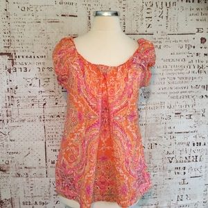 J. Crew Medium Pink Paisley Floral Cap Sleeve Top